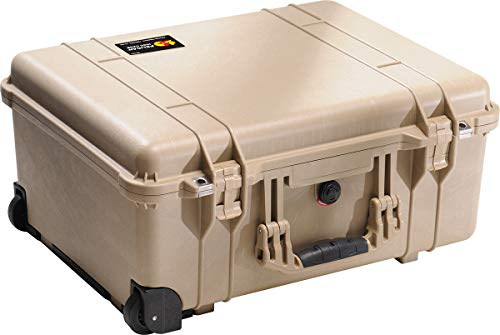 PELI 1560 Valigia di grandi dimensioni per apparecchi fotografici e strumenti fragili, IP67 Impermeabile e a prova di polvere, Capacità di 44L, Prodotto in Germania, Senza schiuma, Color sabbia
