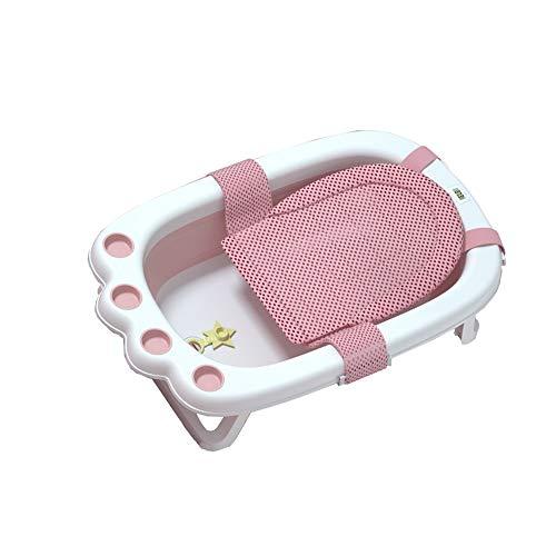 LHHL Faltbare rutschfeste Tragbare Badewannen Für Kinder Sicherer Hygienischer Badeeimer Für Kleinkinder,Mit Badnetz (Color : Pink)