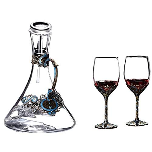 Decantador de vinos Conjunto con Tapa de Vidrio Aireador de Aire Accesorios Aerador de Aire A Hecho a Mano Dispensadores de Alcohol Gran Regalo para los Amantes del Vino-1.5L (tamaño : D+2cup)