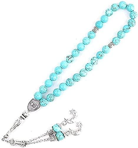 Collar Mujer Collar Hombre Colgante Collar de moda Pulseras de piedra natural 33 Cadena de oración islámica musulmana Rosario de Alá para mujeres Hombres Joyas de lapislázuli Longitud 23cm + 11cm coll