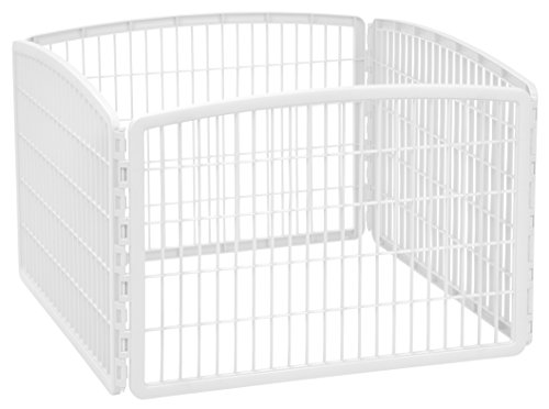 "IRIS USA 24"" Exercise 4-Panel Pet Playpen without Door, White (585602)"