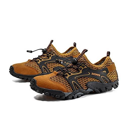Zapatillas de Aguas Arriba,Zapatillas de Agua de Secado Rápido para Hombre,Zapatillas de Senderismo Transpirables para Caminar,Zapatillas de Ciclismo de Travesía de MontañIsmo Playa,Brown-43