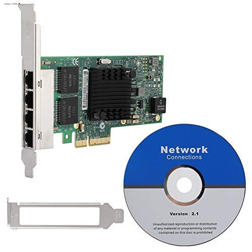 KIKYO Tarjeta Gigabit, 10 Mbps / 100 Mbps / 1000 Mbps Tarjeta de Red de 4 Puertos para i350-T4V2