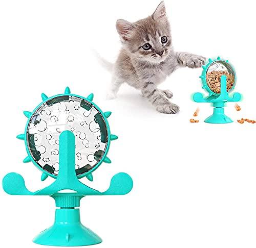 Windmühle Katzenspielzeug,Futterspender mit Saugnapfboden und undichtem Loch,Katzenspielzeug Plattenspieler,Drehbarer Katzenspielzeug,Interaktives Necken Katzenspielzeug,Spielzeug für Katzen