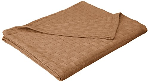 Superior Impressions para Todo el año. Lujoso 100% algodón Tejido Manta, marrón Topo, Cama Individual