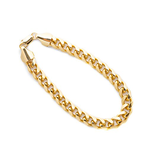 Lifetime Jewelry Cuban Link Bracelet 9MM, Round, 24K Gold with Inlaid Bronze, Premium Fashion Jewelry, Thick Layers Help Resist Tarnishing, 9 Inches