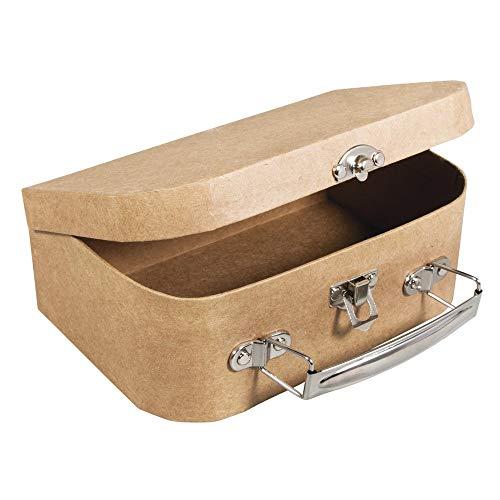 Rayher 67205000 Pappmaché Koffer, 18 x 12 x 6,5 cm, FSC zertifiziert, mit Metallgriff und Schnappverschluss, kleiner Koffer aus Pappmaché, Bastelkoffer, Utensilienkoffer, Pappmachébox