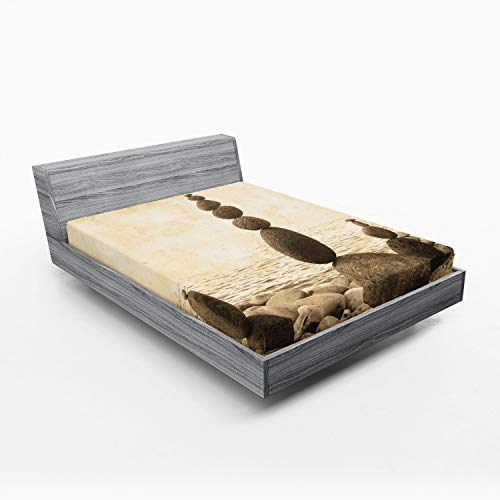 Ambesonne Ocean Fitted Sheet, Coastal Shore Calm Water Print Sepia Big and Small Rocks Pebbles Grunge, Soft Decorative Fabric Bedding All-Round Elastic Pocket, Full Size, Beige Brown