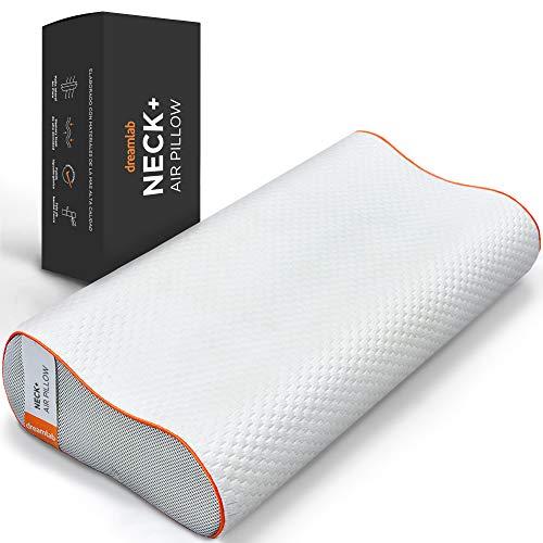 Dreamlab Almohada Neck+ | Memory Foam con Gel | Hipoalergénica, Certificaciones CertiPUR-US y Oeko-Tex Standard 100 | Firmeza: Medio Firme | Tamaño Estándar (61cm x 41cm)