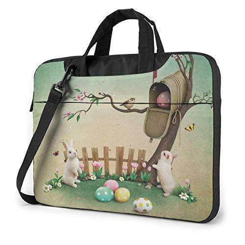 Laptop Shoulder Bag,Easter Spring Rabbit Egg Tree Shockproof Laptop Sleeve Cover Business Messenger Bag Briefcase Handbag Case 15.6 inch