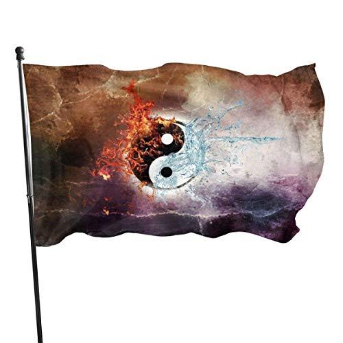 GOSMAO Bandera de Jardín Doble Costura Resistentes a la Decoloración UV Banner de Bandera Decorativo Exterior Fiesta Mardi Gras para Patio Césped Yin Yang 150X90cm