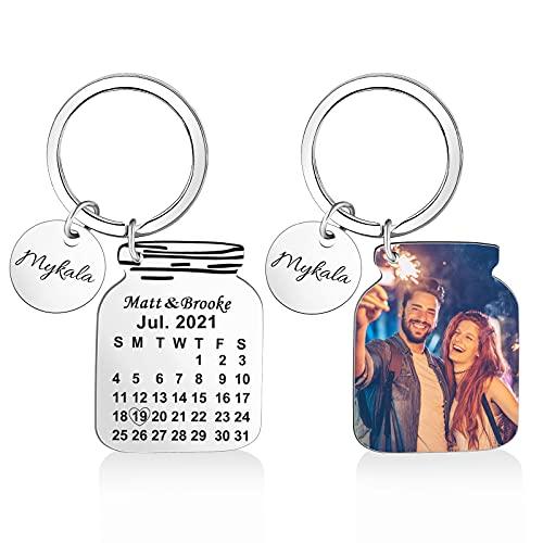 OXYEFE Iregalo aniversario pareja llaveros mujer Llavero Personalizado Foto/Fecha/Texto regalos de boda para los novios Con caja de regalo (plata, Forma de botella)