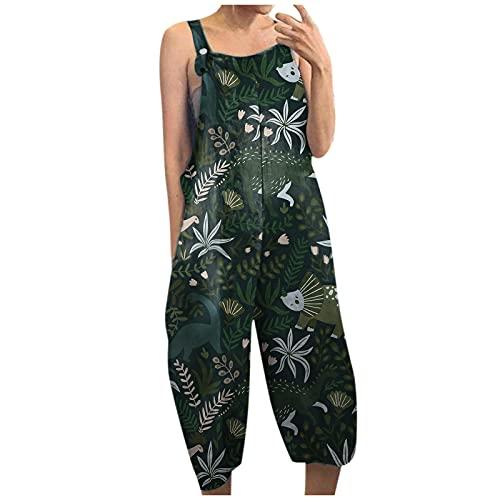 Women Jumpsuits Casual Animal Print Straps Wide Leg With Pocket Vintage Elegant Jumpsuit With Button Suspenders Pant