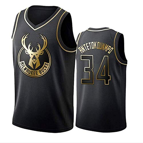 WOLFIRE SC Camiseta de Baloncesto para Hombre, NBA, Milwaukee Bucks #34 Giannis Antetokounmpo. Bordado, Transpirable y Resistente al Desgaste Camiseta para Fan (Golden Edition, L)