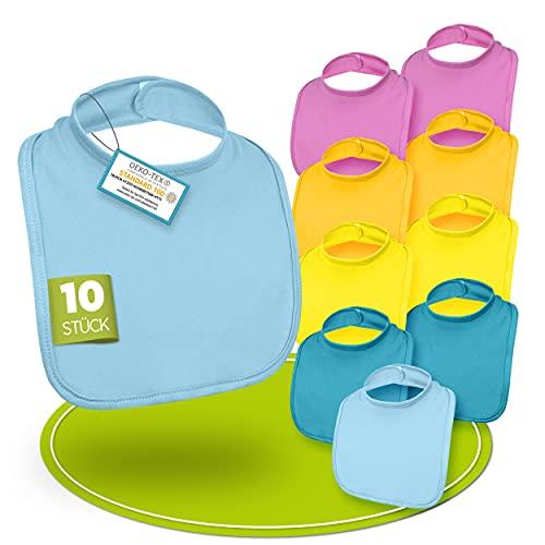 BAYBEE – Premium Babylätzchen [10er Set] – 100% Baumwolle mit Klettverschluss - waschmaschinenfeste & abwaschbare lätzchen baby - Öko-Tex geprüft – in [5 Farben] für Mädchen & Jungen