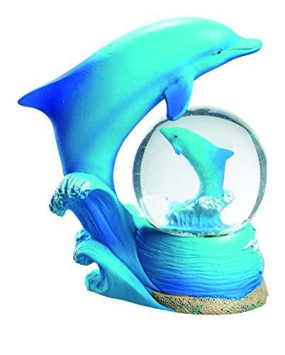 Impexit Figur Delfin mit Schneekugel Delfin aus Kunstharz, 9/9/5 cm