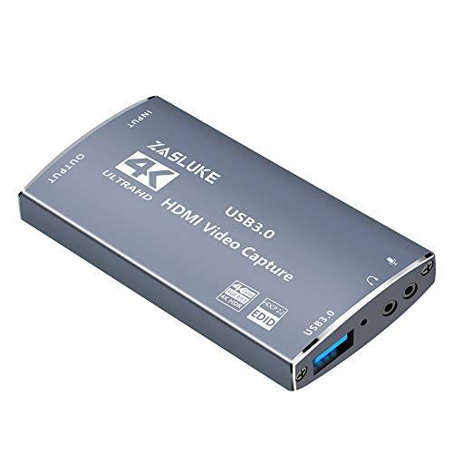ZasLuke Game Capture Card, 4K 60FPS Durchgang HDMI Capture Card mit HDMI-Loop-Out, 4K 30FPS USB 3.0 Capture Card Live-Streaming für PS4, Xbox One&Xbox 360 und Mehr