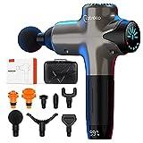 Cotsoco Pistola de masaje de tejido profundo con batería de 4800 mAh y pantalla táctil LED multicolor, pistola de masaje silenciosa, masajeador muscular con 8 cabezales de masaje