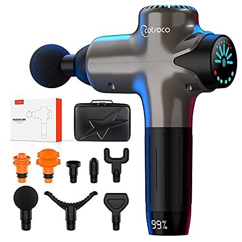 Pistola per massaggio muscolare, Pistola per massaggio cervicale con tessuto profondo portatile, 7 velocità Potente massaggiatore per il corpo a percussione-Indicatore LED Touch screen
