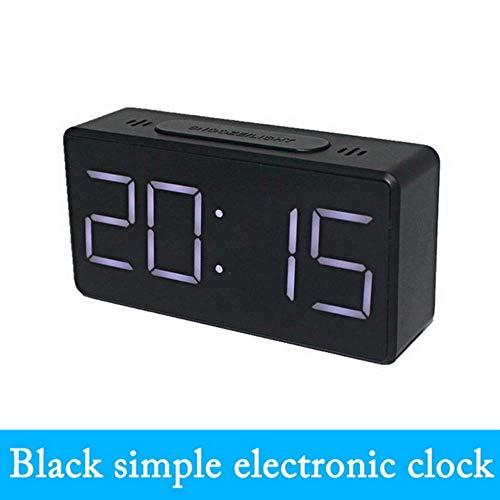 Termómetro digital Reloj de alarma LED de madera Luz de fondo Control de voz Reloj de resplandor retro de madera Mesa de escritorio Despertadores luminosos, 117x44x78 mm