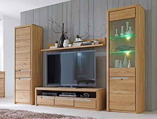 Wohnwand Pisa 30 Eiche Bianco massiv 4-teilig Medienwand TV-Wand Wohnzimmer TV-Möbel