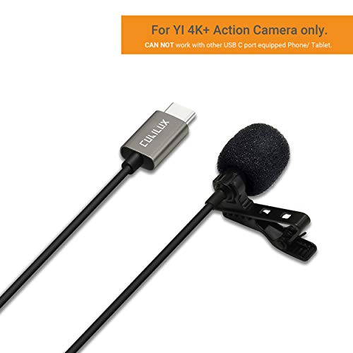 Lavalier Lapel Microphone Compatible for YI 4K Plus 4K+ Action Camera [5FT], Cubilux Clip-on Omnidirectional MIC with Clear Voice for Vloggers/Youtuber/Recording
