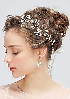 FXmimior - Set di accessori da sposa per capelli con cristalli dorati e un paio di orecchini di cristallo, accessorio per ...