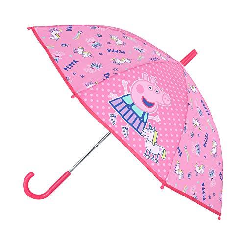 Peppa Wutz Kinder Regenschirm Stockschirm, ∅ 72 cm, rosa