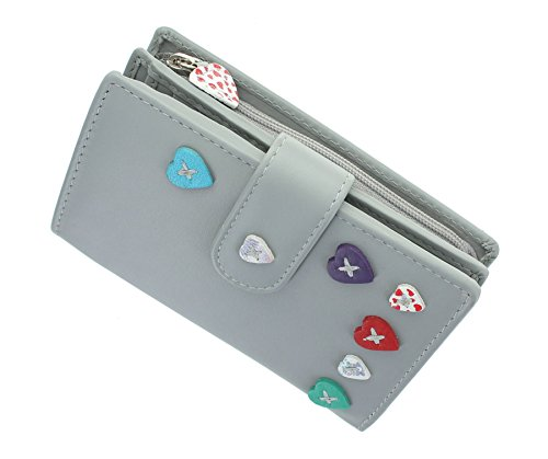 Mala Leather Lucy Collection Leather Purse with Tab Closure 3188_30 Grey