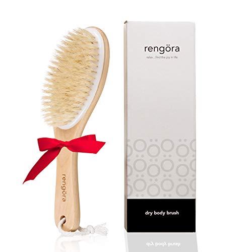 Lymphdrainage-Massagegerät - Körperbürste Trockenbürste für Körper mit Naturborsten - von Rengora