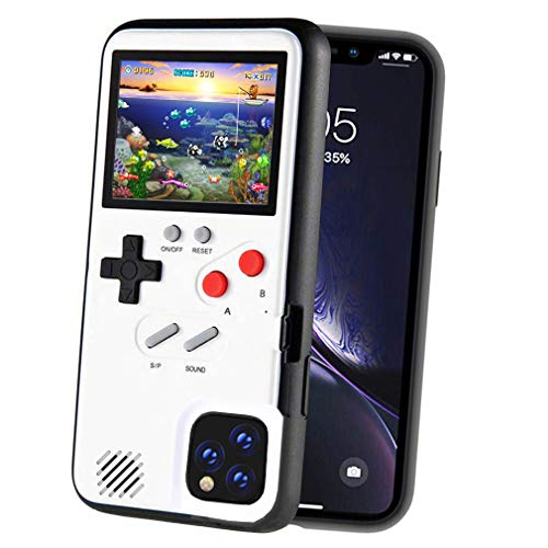 POKPOW Handheld Game Console Phone Case for iPhone 11 Pro Max Case with Built in 36 Retro Games Compatible with iPhone 11 Anti-Scratch Shock Absorption Cover (Max White)