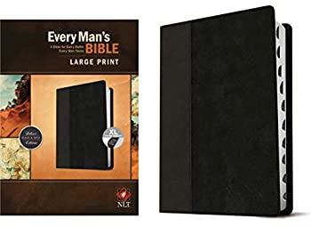 Every Man s Bible  New Living Translation Large Print TuTone  LeatherLike Black/Onyx Indexed  – Study Bible for Men with Study Notes Book Introductions and 44 Charts
