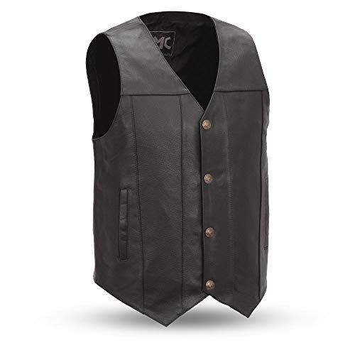 First MFG Co. - Gun Runner - Men's Leather Western Vest (Black, XX-Large)