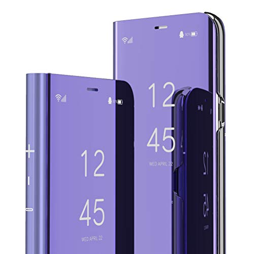 QIVSTARS Case for LG V30   V30 Plus Cool Style Clear View Window Electroplate Plating Stand Scratchproof Full Body Protective Flip Ultra Slim Cover for LG V30   V30 Plus PU Mirror:Purple QH
