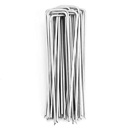 Sekey Paquete de Seguridad para jardín de Acero Multiusos en Forma de U, Ideal para asegurar Tela de maleza, Tela de Paisaje, Redes, escota y vellón (25PCS, 150 * 30 * 3.5mm)