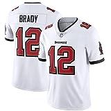 メンズパイレーツ12#ブレイディー繰り返し洗浄できるアメリカンフットボールの服日常着やアウトドアトレーニングに最適-White-XL