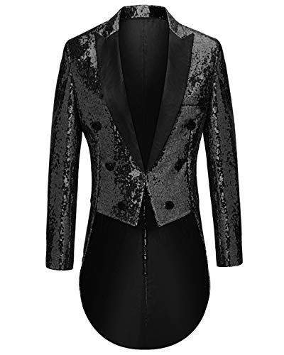 MAGE MALE Mens Sequin Tuxedo Jacket Tails Slim Fit Tailcoat Dress Coat Swallowtail Dinner Party Wedding Blazer Suit Jacket Black
