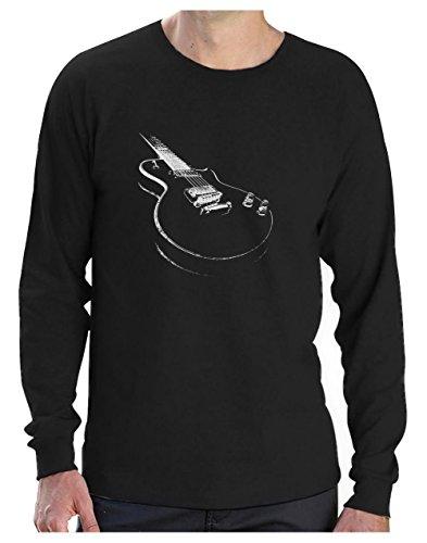 Camiseta de Manga Larga para Hombre - Guitarra Estampada. Ropa Rockera Hombre, Regalo Rock -Medium Negro