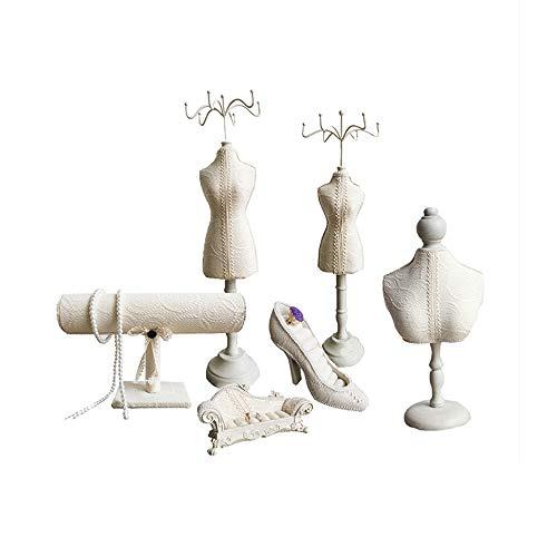 JIUJIA sieradenstandaard display multifunctionele creatieve prinses model ornamenten raamdecoratie (6-delige set) (7 stijlen)