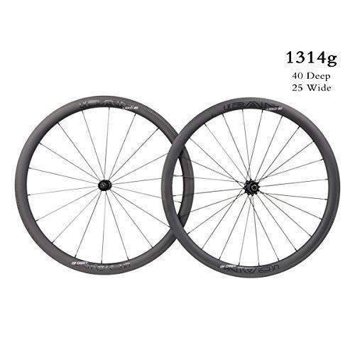 ICAN Aero 40 Superlight 1314g Vélo de Route en Carbone sur Roues de 40mm de Pneu Clincher Tubeless...