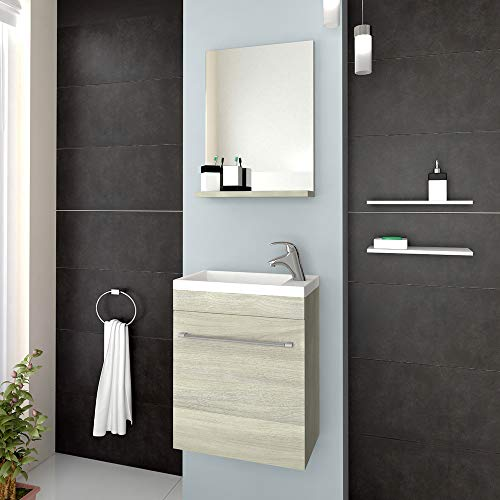 Savinidue Badkamerkast met spiegel en wastafel, kleur eiken, grijs, model Perla Salvaspazio cm. 42 x 23 x h 106
