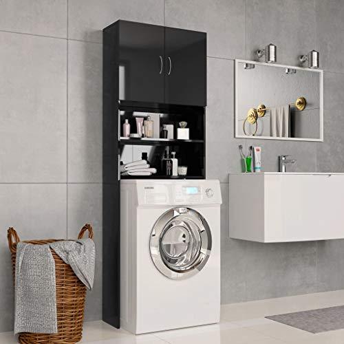 Festnight Waschmaschinenschrank Hochglanzschwarz 64x25,5x190cm Spanplatte Hochschrank   Badhochschrank Schrank   Badschrank Mit 2 Türen und 2 offenen Fächern