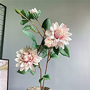 TRRT Fake Plants Dahlia Branch Silk Artificial Flowers with Fake Leaves for Wedding Garden Hotel Decoration Fake Flower