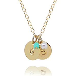 Two Initial Necklace with Birth Month Charms  Tiny Gold Filled Custom 2 Personalized Dainty Discs