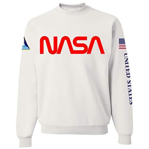 NASA Worm Logo Space Shuttle Heavy-Duty WHITE Crewneck Sweatshirt for Men
