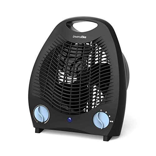 UNIVERSALBLUE | Termoventilador Vertical | Calefactor Bajo Consumo | 3 Modos de Funcionamiento | 2000W | Color Negro | 2 Potencias | Termostato Ajustable | Sistema de Seguridad