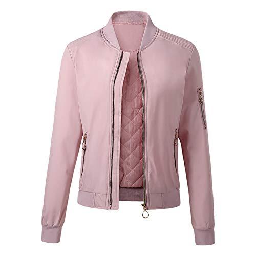 URIBAKE Women Bomber Jacket Sweatshirt Button Slim Zipper Long Sleeve Warm Velvet Coat