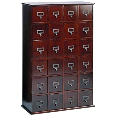 LDE LESLIE DAME Leslie Dame CD-456C Solid Oak Library Card File Media Cabinet, 24 Drawers, Cherry