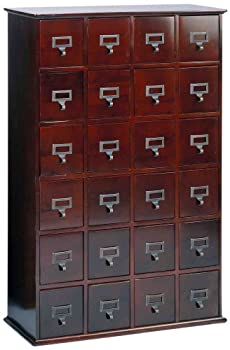 Leslie Dame Solid Oak Library Card File Media Cabinet 24 Drawers Cherry