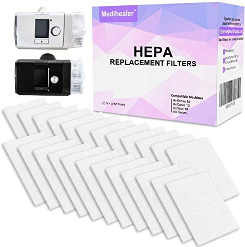CPAP HEPA Filters (One Year Supply) for ResMed - Premium Universal Filter Supplies for ResMed AirSense 10, AirCurve 10, S9 Series, AirStart Series Machines - 24 Packs Medihealer Replacement Filters